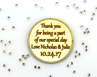 Wedding Favor Magnet, Thank you for being a part of our special day, Laser Engraved, Rustic Party Favor, Personalized, Laser Cut