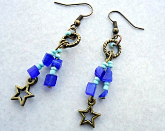 Earrings Bohemian, Bohemian earrings, blue earrings, turquoise earrings-