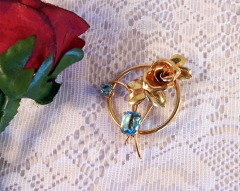 DORSONS Gold Filled Floral Brooch with Lovely Large Aqua Rhinestone Accents Circa 1940's
