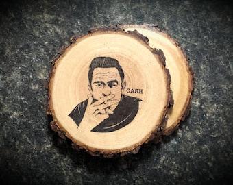 Johnny Cash Vintage Natural Wood Coasters Set of 2