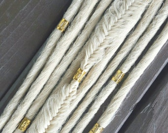 Set of 10 smooth bohemian blonde handmade dreadlocks with gold or silver cuffs.