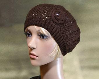 Brown knit beret, Knitted spring hat, Womens beret knit, Beret for women, French knit beret, Women's beanie wool, Hat beanie women