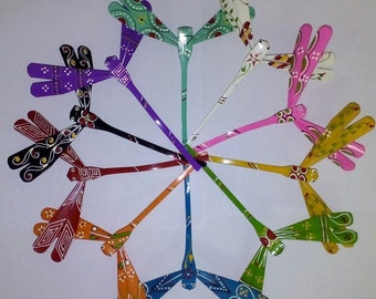 LOT 50 SELF BALANCING Bamboo dragonfly - Decor Toy -  Beautiful Multicolor