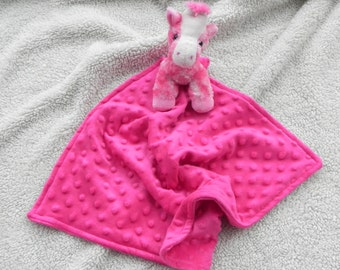 Pink Giraffe Security Blanket