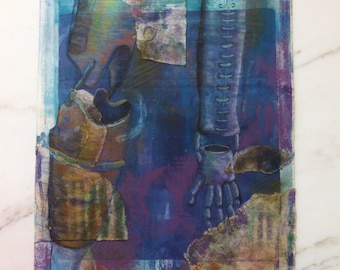 Monoprint Collage Original Monotype Collage