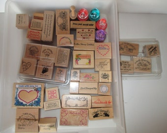 Lot of 43 Scrapbook Handmade - Hand Stamped Rubber Stamps-