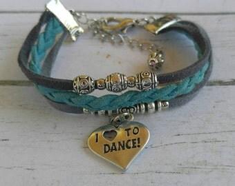 Custom Sports Jewelry for Girls// Dance Bracelet// Turquoise & Gray Friendship Bracelet// Dance Gift// Choose ONE Sports Charm