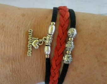 Gymnastics Charm Bracelet// Red & Black Friendship Bracelet// Girl's Sports Bracelet// Gymnastics Gift// Choose Sports Charm and Cord Colors