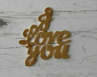 14K Gold Filled I Love You Charm// Gold Love Pendant