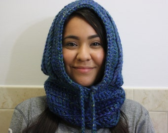 Knit Hood, Hooded Scarf, Crochet Cowl, Hood Scarf, Crochet Hood Scarf, Knit Cowl Color : Turquoise Blue