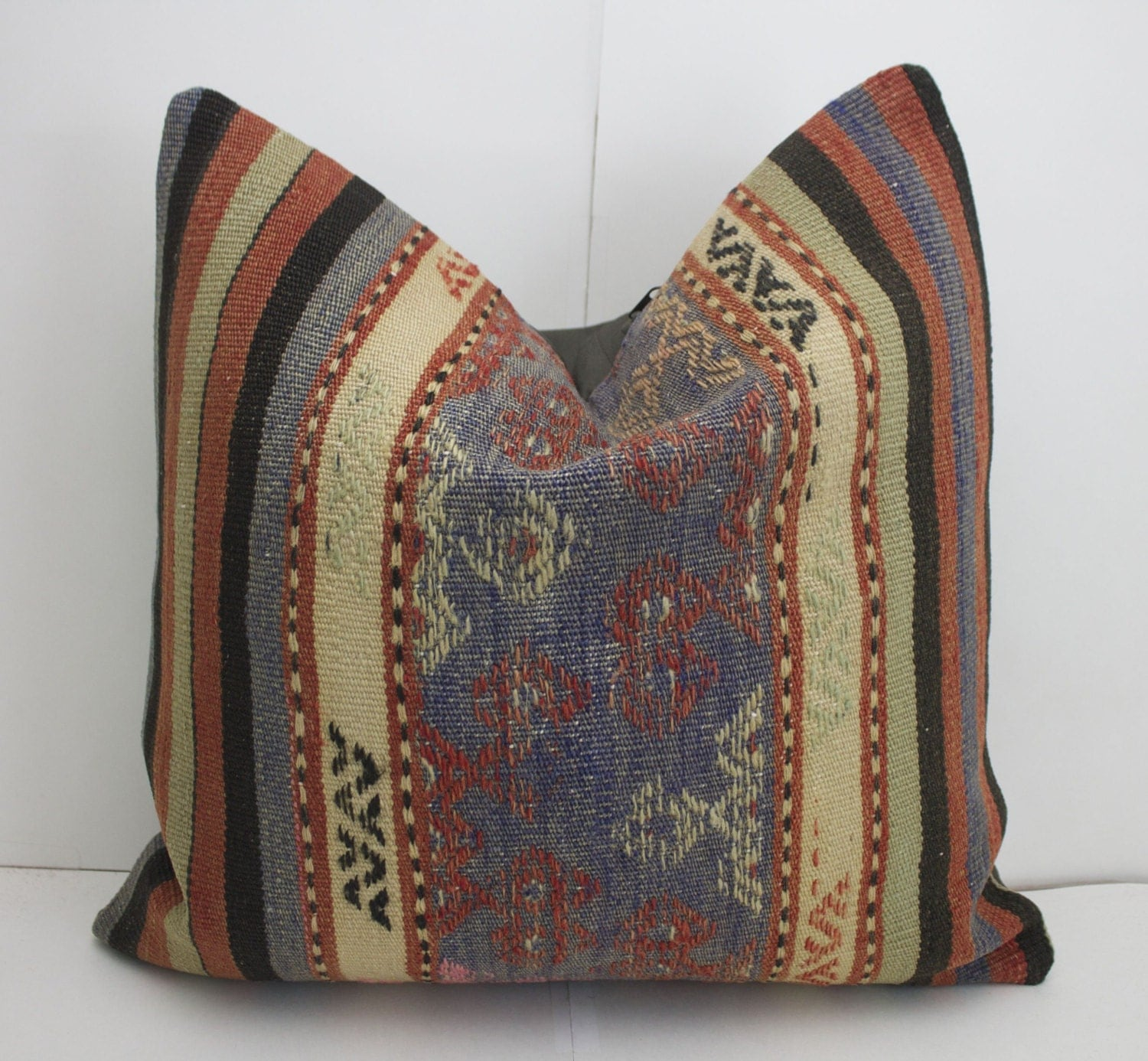 18x18 Kilim Pillow Blue Striped Pillow Couch Pillow Rust