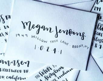 modern calligraphy addressed envelopes