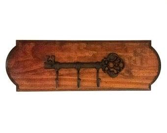"Key Rack/Holder ""Beveled Edge Wood"" With Vintage Style Metal Skeleton Key Hanger 16""L x 5 7/8""W - Honey"