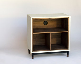 walker modern concrete media record cabinet and shelf - Record Shelf