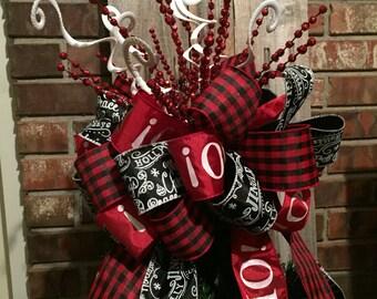 Christmas Tree Bow Topper   Large   Red, White, Black, Buffalo Plaid Ribbon
