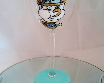 Beautifully Hand Decorated Glitter Glass - Beauty & The Beast Inspired 'Chip' Glass