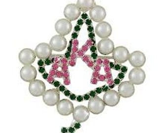 Alpha Kappa Alpha Sorority Pearl Ivy Greek Letters Brooch AKA221