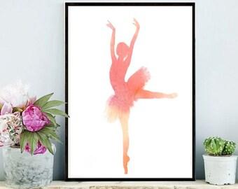 Ballerina Print, Watercolor Art Print, Ballet Print, Printable Wall Art, Pink Wall Art, Girls Room Decor, Digital Download