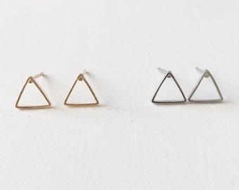 Small triangle earrings, simple small earrings, dainty earrings