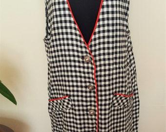 Vintage Black & White Plaid Summer Dress