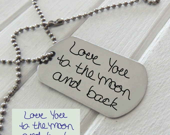 Your Handwriting Steel Dog Tag - Plus Custom Text or Fingerprint Option,  Hand crafted fingerprint gifts,  Reveal Party - Anniversary Gift