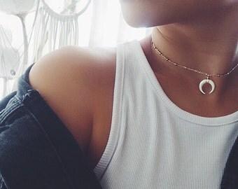 Boho MINI Crescent Moon Horn Necklace w/ Satellite Chain, Layering Necklace, Horn Necklace, Double Horn Necklace, Statement Necklace