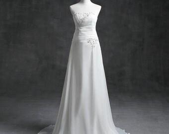 White Semi-Sweetheart Wedding Gown