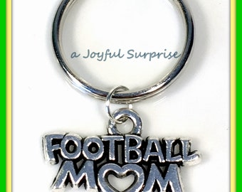 Sale Football Key Chain, Foot Ball Mom KeyRing, Silver Helmet KeyChain, Gift for Coach Mother Initial Birthstone Purse charm planner present