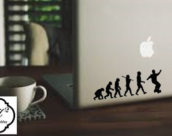 Evolution of Skateboarding decal, car, laptop, window skate board