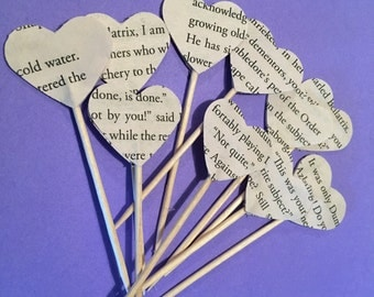 Harry Potter Cupcake Toppers, Book Paper Cupcake Toppers, Wedding, Bridal Shower, Birthday Party Harry Potter Cupcake toppers, Handmade