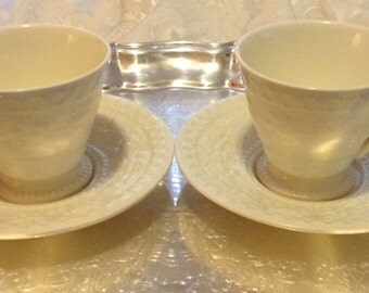 2 ~ Two WEDGWOOD WELLESLEY of Etruria BARLASTON Footed Cup & Saucer sets