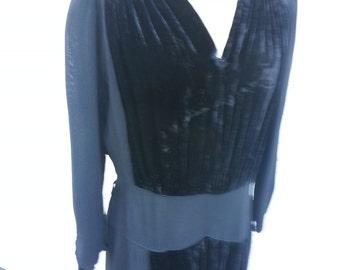 Beautiful 30/40's era velvet and rayon dress.