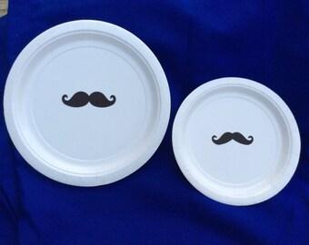20 Mustache Plates/Mustache Baby Shower plates/Mustache party/little mister plates/little man baby shower/babyshower mustache