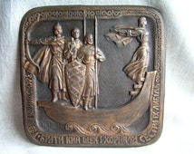 """BIG Vintage Copper Wall Art Decor """"The founders of Kiev""""/ Chasing Stamping  Embossed Copper Plaque / Kyiv Ukraine Gift / Made in USSR"""