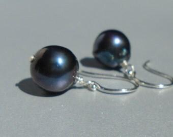 Pearl Earrings, Black Pearl Earrings, Freshwater Pearl Earrings, Gemstone Earrings, Genuine Pearl Earrings,