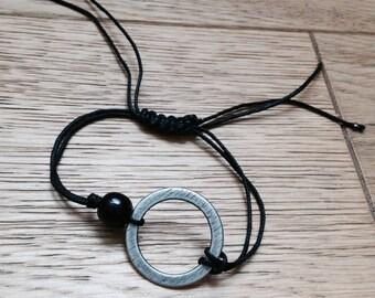 Adjustable black cord bracelet