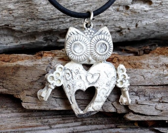 Heart owl pendent steampunked in sterling silver. Perfect little holiday gift