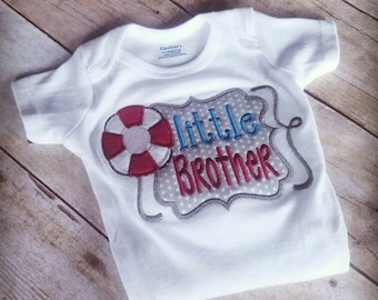 Little Brother Applique Shirt - Little Brother Bodysuit - Sibling Shirt - Little Brother Outfit - Nautical Little Brother Shirt