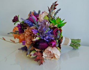 SALE - Silk, artificial brides bouquet