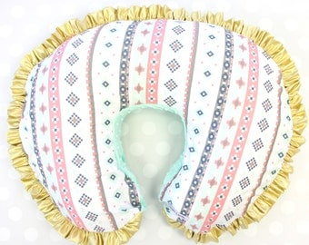 Trinity's Tribal   Mint & Gold Aztec Ruffled Nursing Pillow Cover