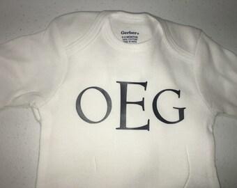 Monogrammed baby onesie