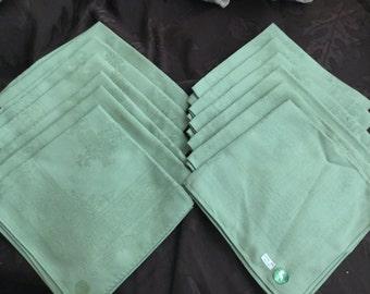12 One Dozen MATCHING VINTAGE Sage Green Avocado 100% Cotton NAPKINS Serviettes Made in Japan 1960's