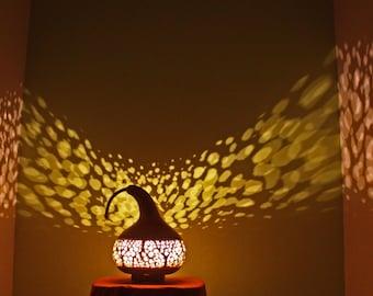 Natural Organic Carved Gourd Lamp, LED 240v AU plug, On a Hardwood base