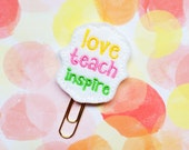 Teacher Planner Clip, Teacher Felties, Teacher Organizer Clip, Teacher Lesson Plan, Notebook Clip, Felt Applique, Teacher Gifts Under 10