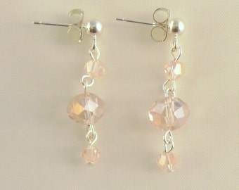Pink Crystal Earrings - Pink Dangle Earrings - Pink Bridesmaid Earrings