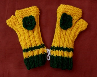 Yellow Knitted Gloves