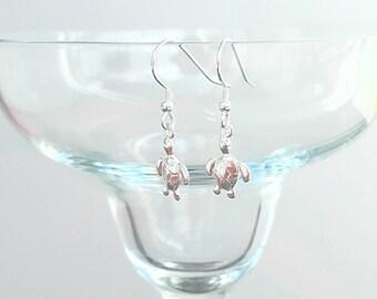 Sterling Silver Turtle Earrings, Turtle Earrings, Silver Turtle Earrings, Silver Turtle, Sterling Silver Turtle, Ocean Jewelry, Gift For Her