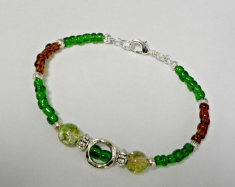 Green and brown teen bracelet