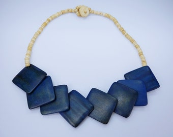 Necklace wooden planks in blue necklace and wooden beads in natural light brown wood jewelry vintage