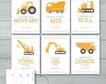 Kids Valentine Cards | Construction Valentines  |  Digger, Dump Truck, Excavator, Crane, Plow, Cement Mixer Valentine Cards